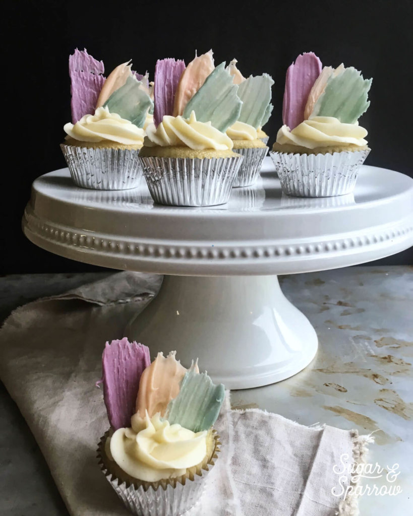 brushstroke cupcakes by sugar and sparrow
