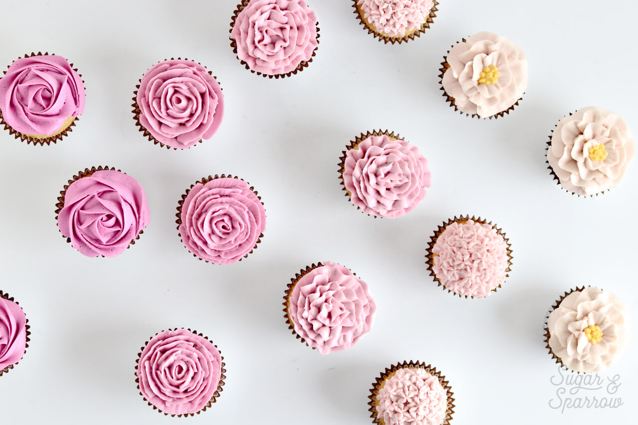DIY buttercream flower cupcakes