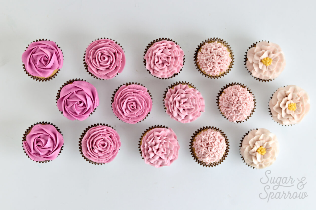 buttercream flower cupcakes by Sugar and Sparrow