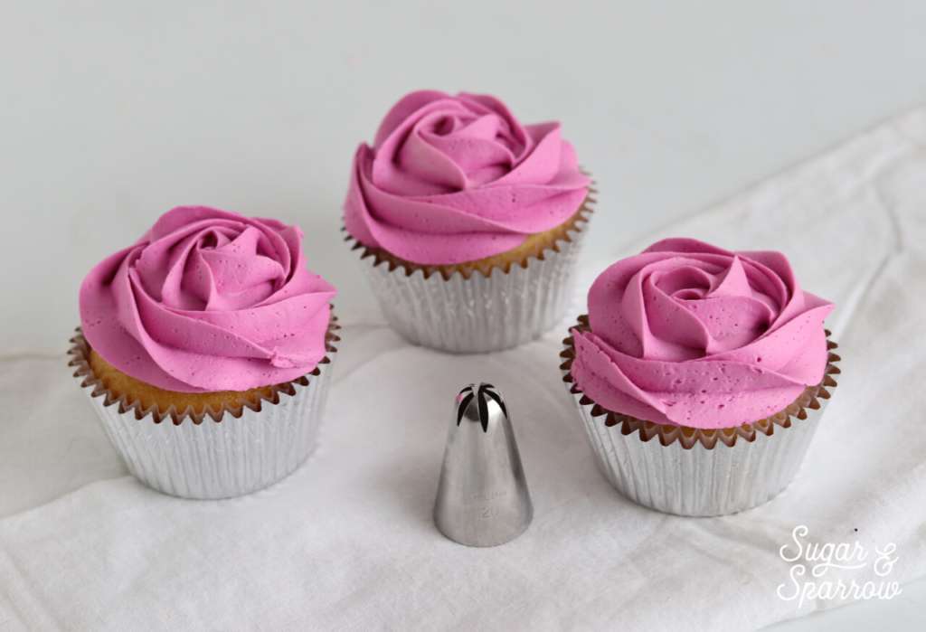 rosette cupcakes by Sugar and Sparrow