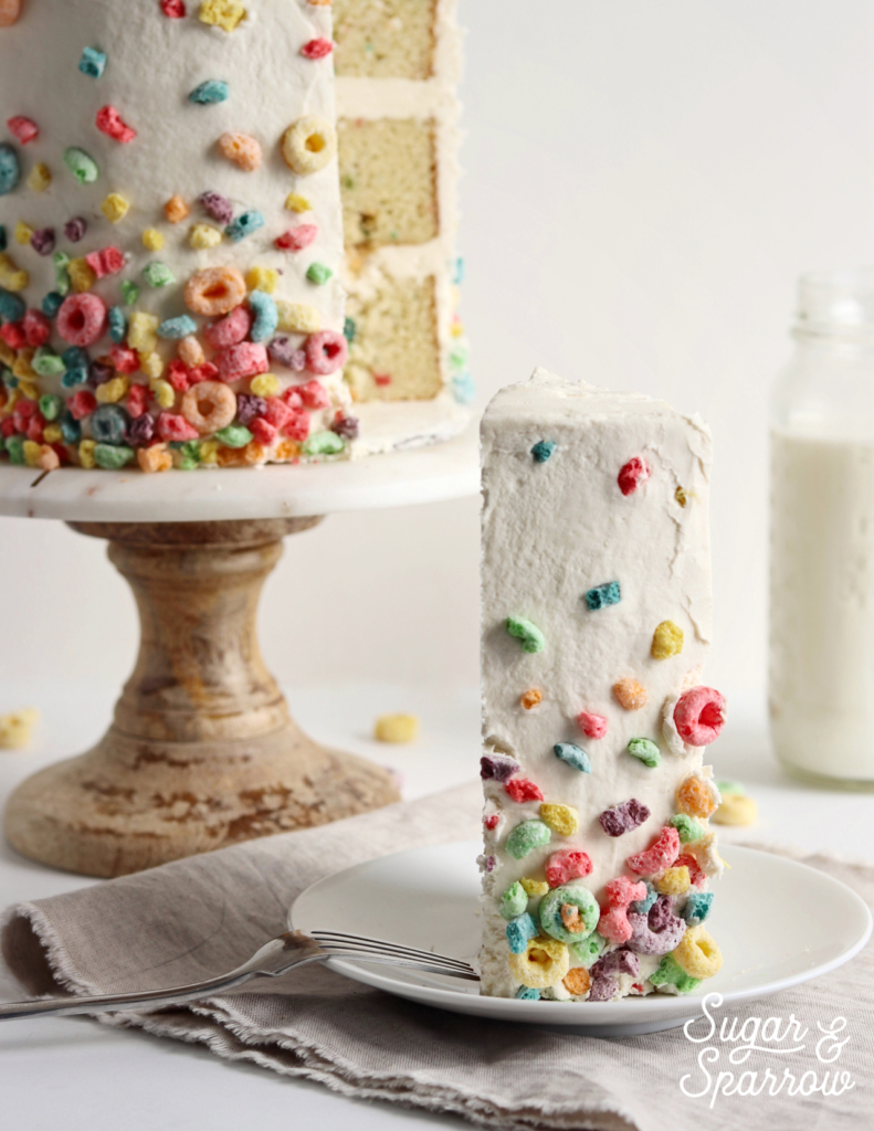 froot loop cake by sugar and sparrow