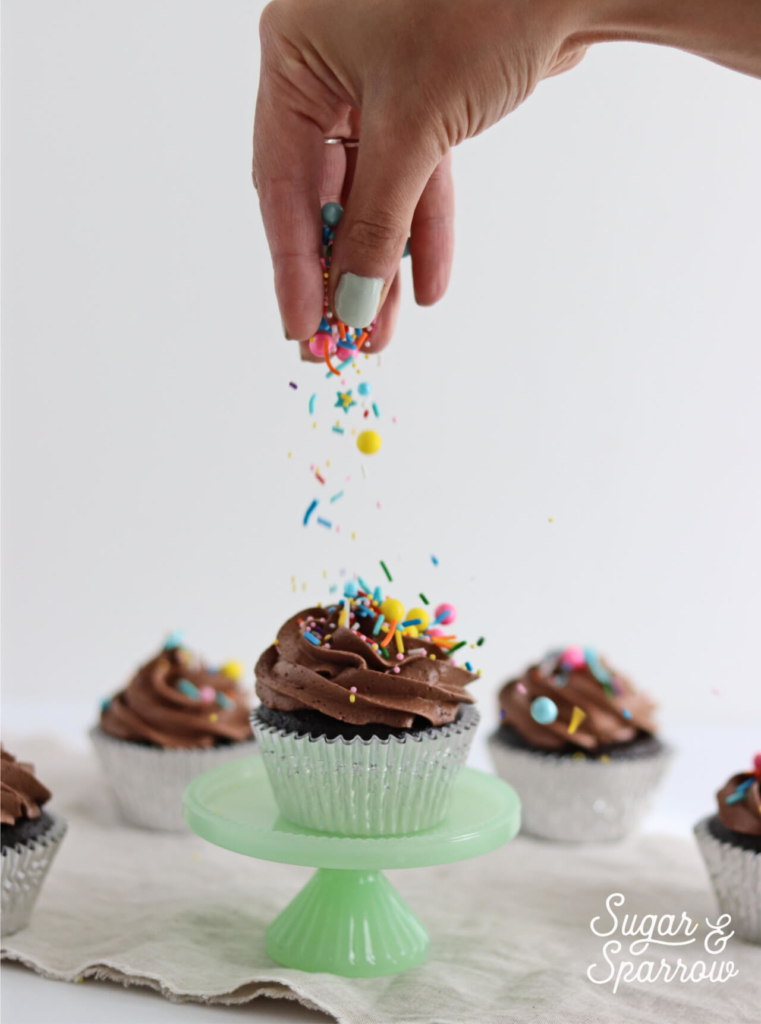 fancy sprinkles chocolate cupcakes sugar and sparrow