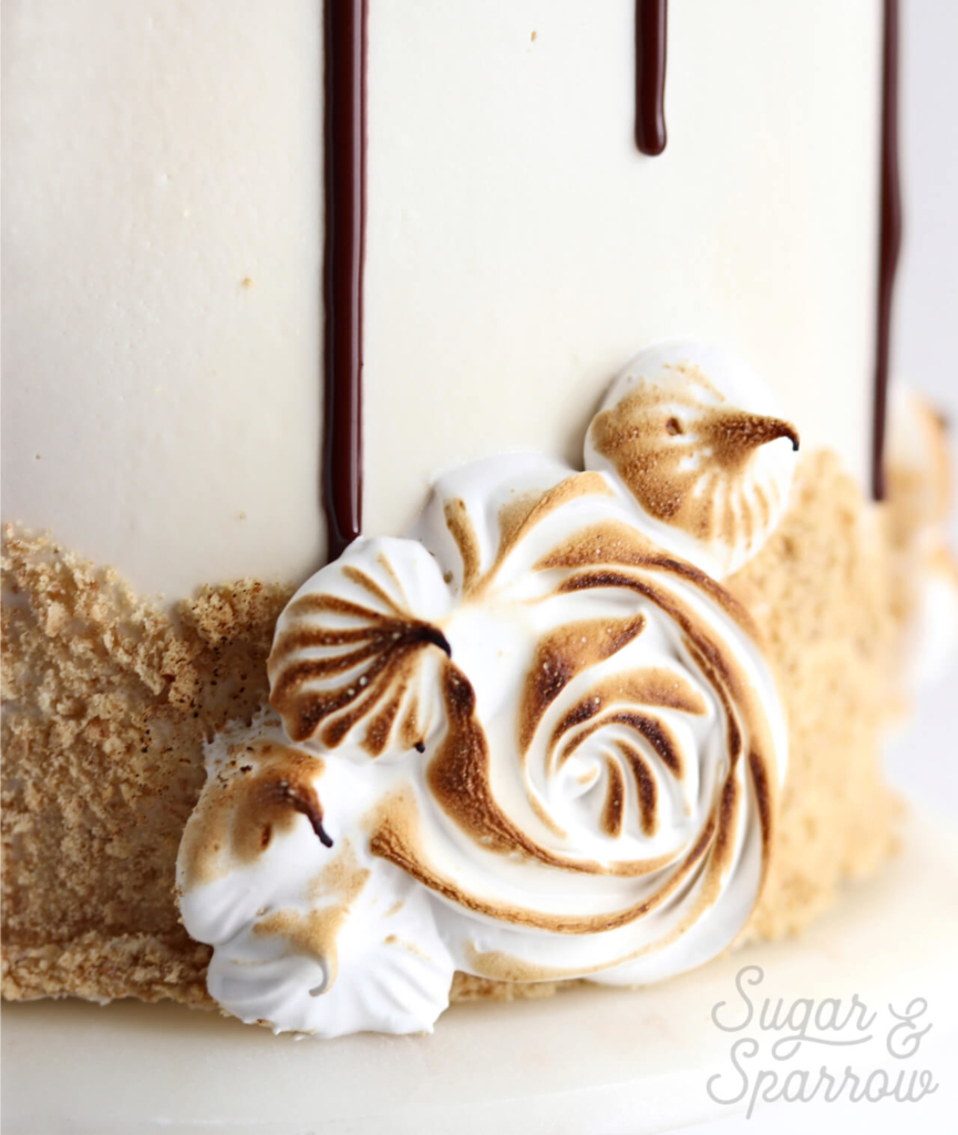 toasted smores cake recipe by sugar and sparrow