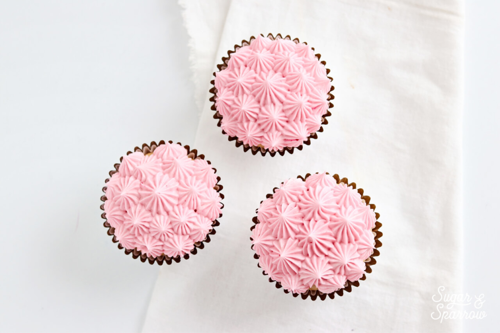 pink cupcakes by sugar and sparrow