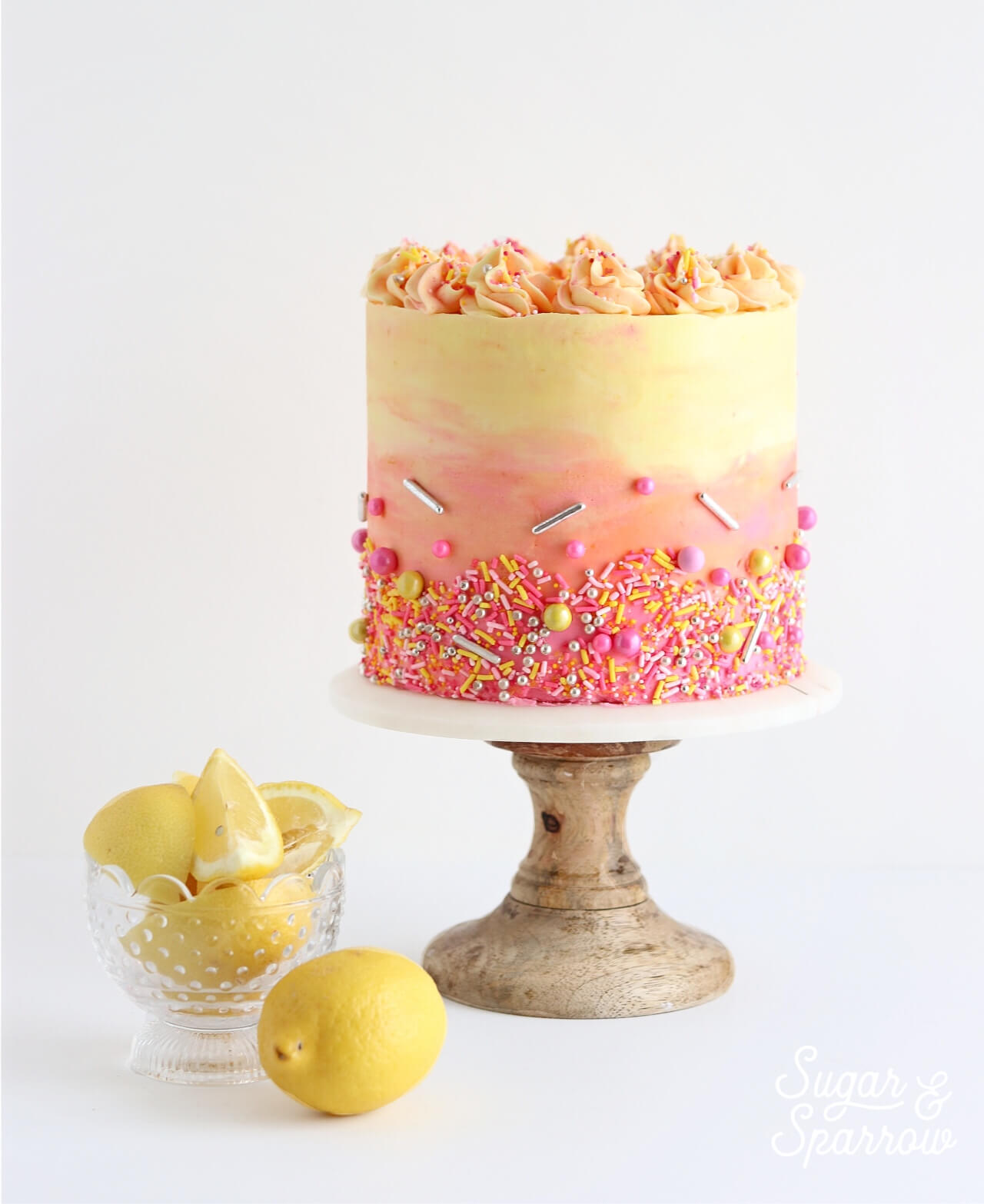 strawberry lemonade cake by sugar and sparrow