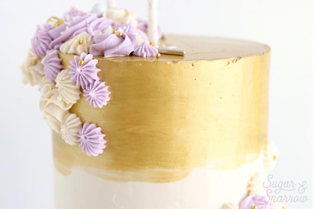 rolkem super gold painted onto buttercream