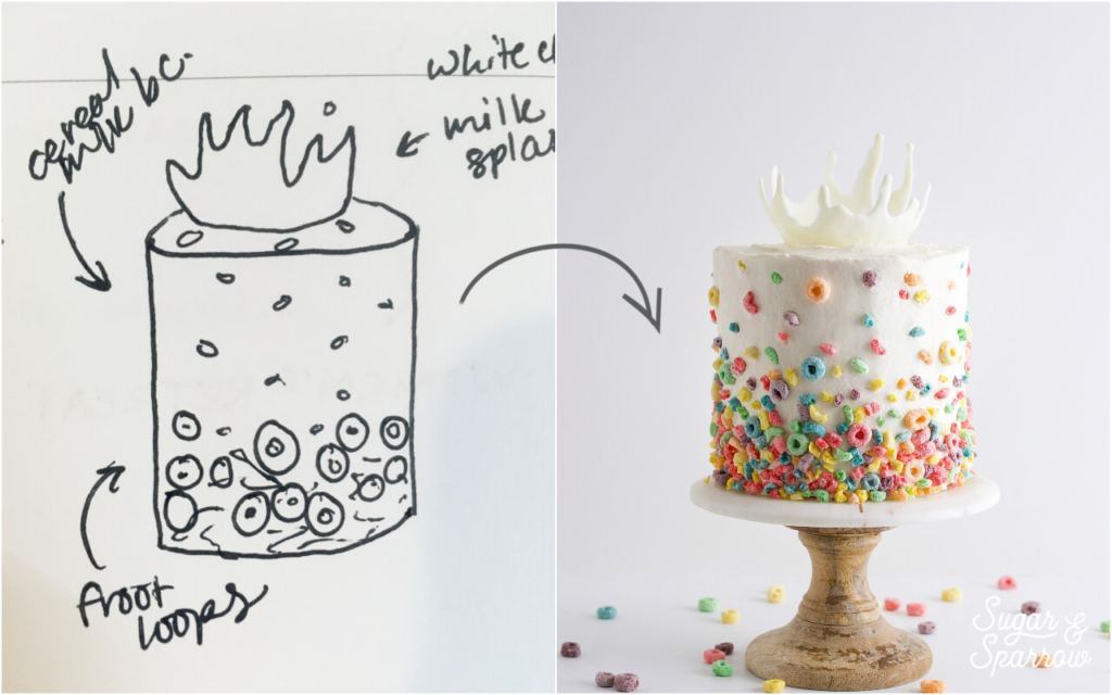milk and cereal cake concept art