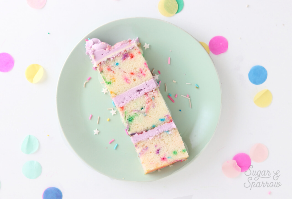 funfetti cake from scratch by sugar and sparrow