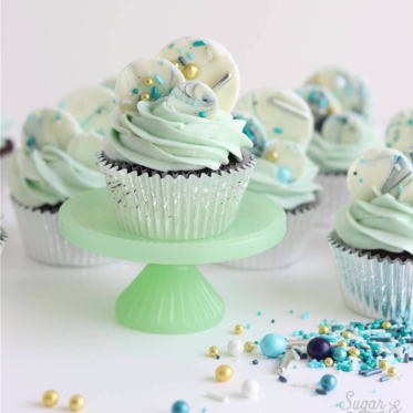 sprinkled white chocolate mini discs by Sugar and Sparrow