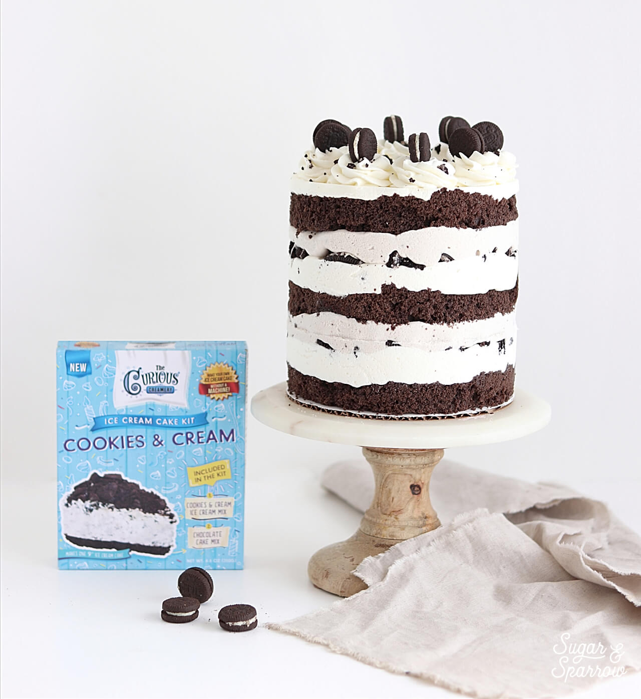 cookies and cream ice cream cake by sugar and sparrow