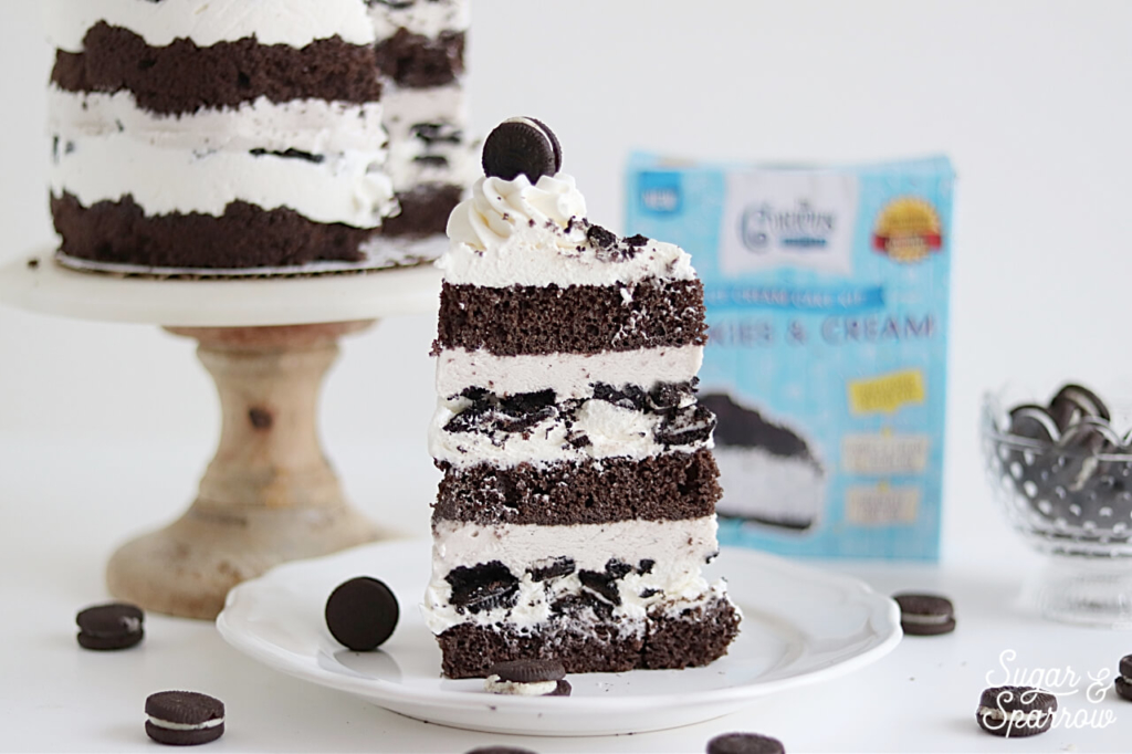 tall cookies and cream ice cream cake