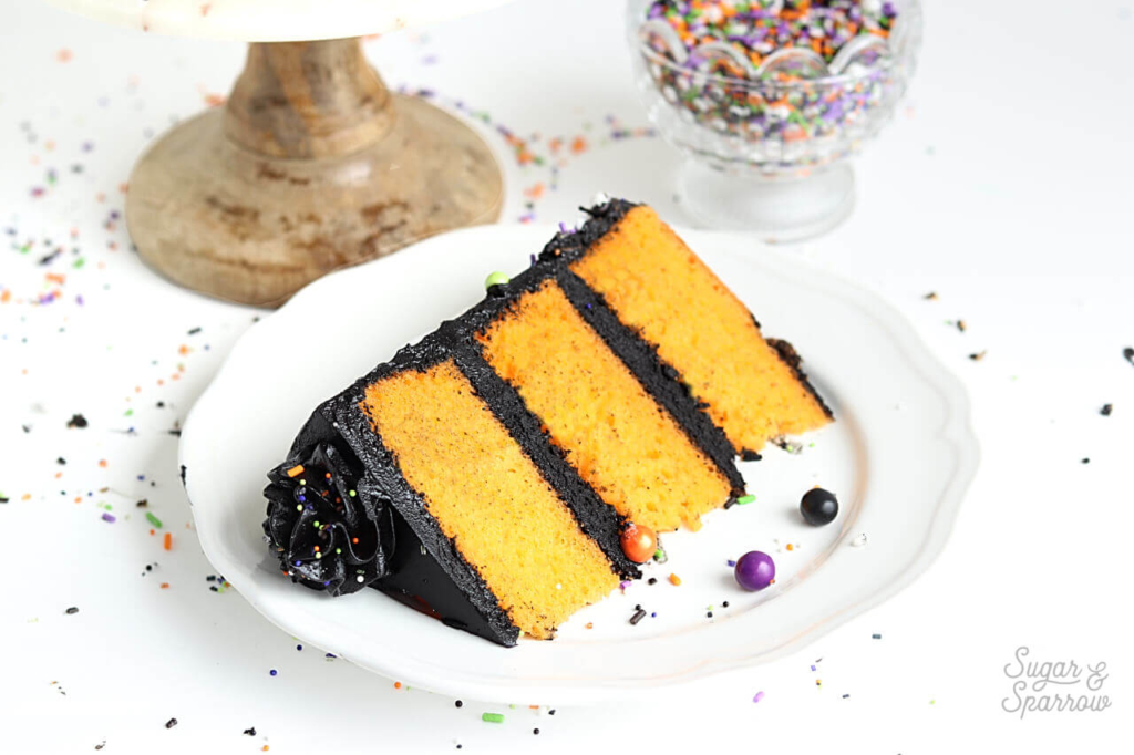 orange cake with black frosting for halloween