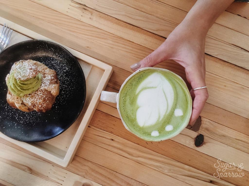 stonemill matcha latte and matcha cream puff