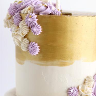 Metallic gold buttercream cake tutorial
