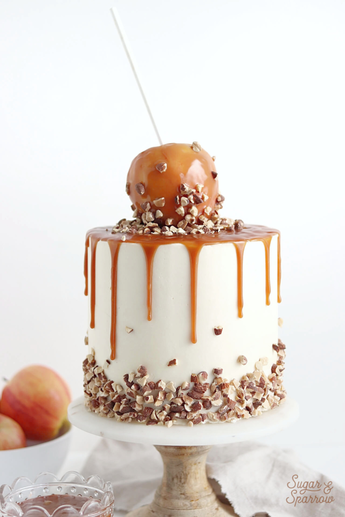 salted caramel apple cake by sugar and sparrow
