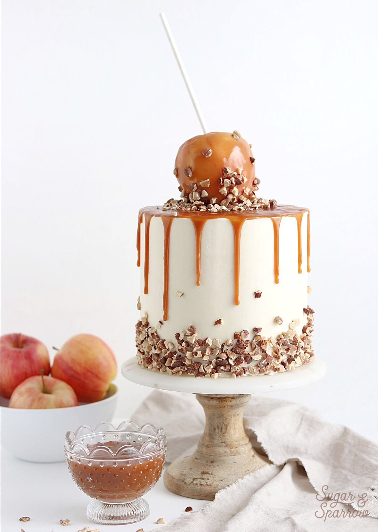 caramel apple cake recipe by sugar and sparrow