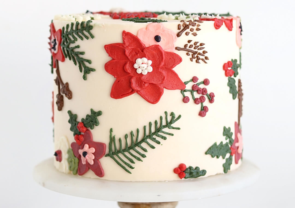 how to paint flowers onto buttercream