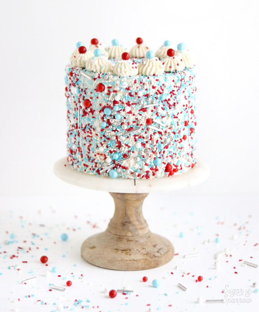 sprinkle covered cake by sugar and sparrow