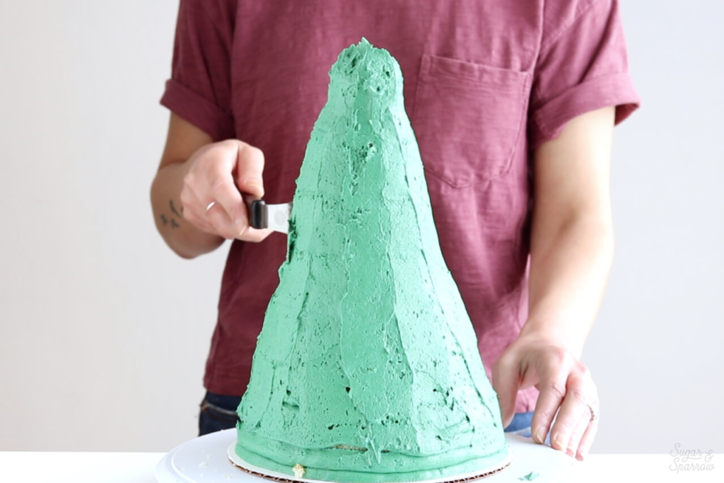 crumb coating christmas tree cake