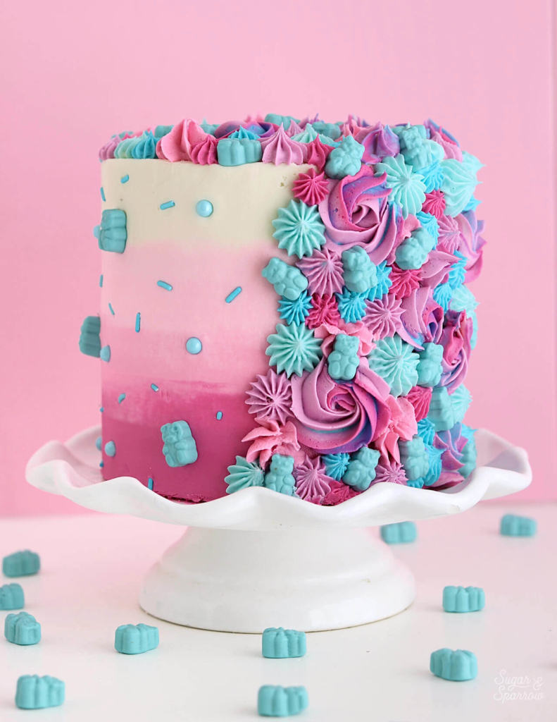 pink ombre cake by sugar and sparrow