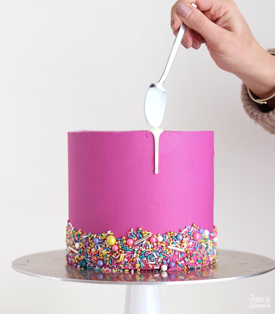 how to drip cake with white chocolate ganache