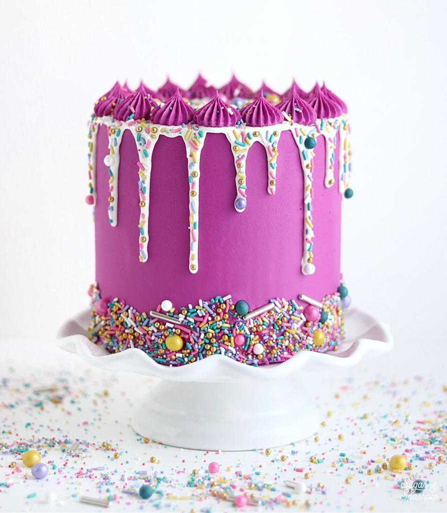drip cake with sprinkles