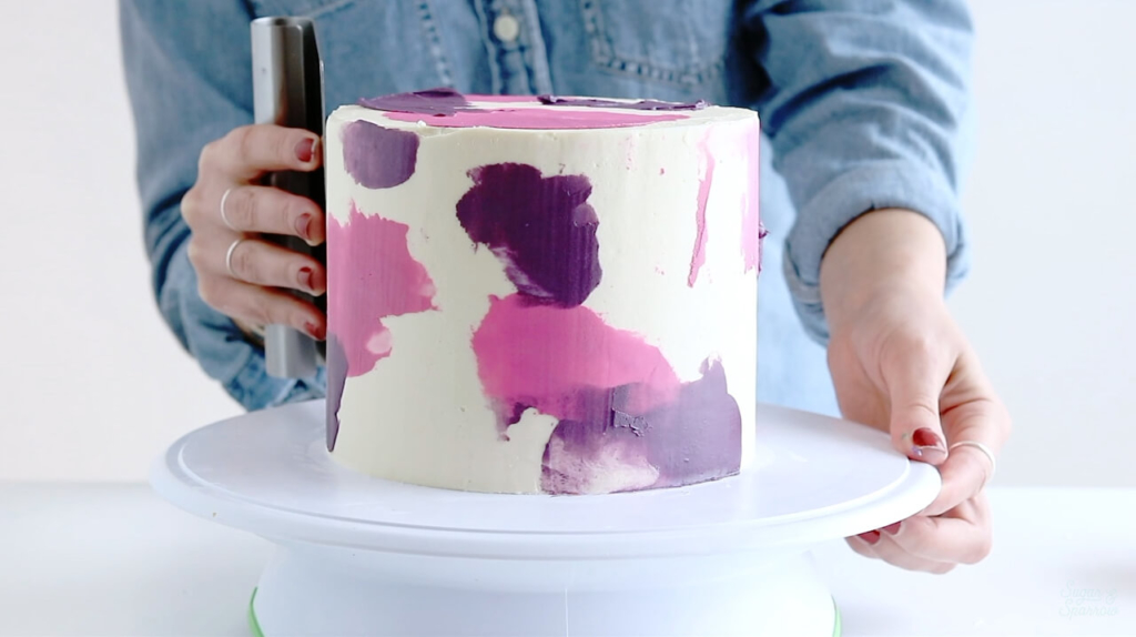 watercolor buttercream cake by sugar and sparrow
