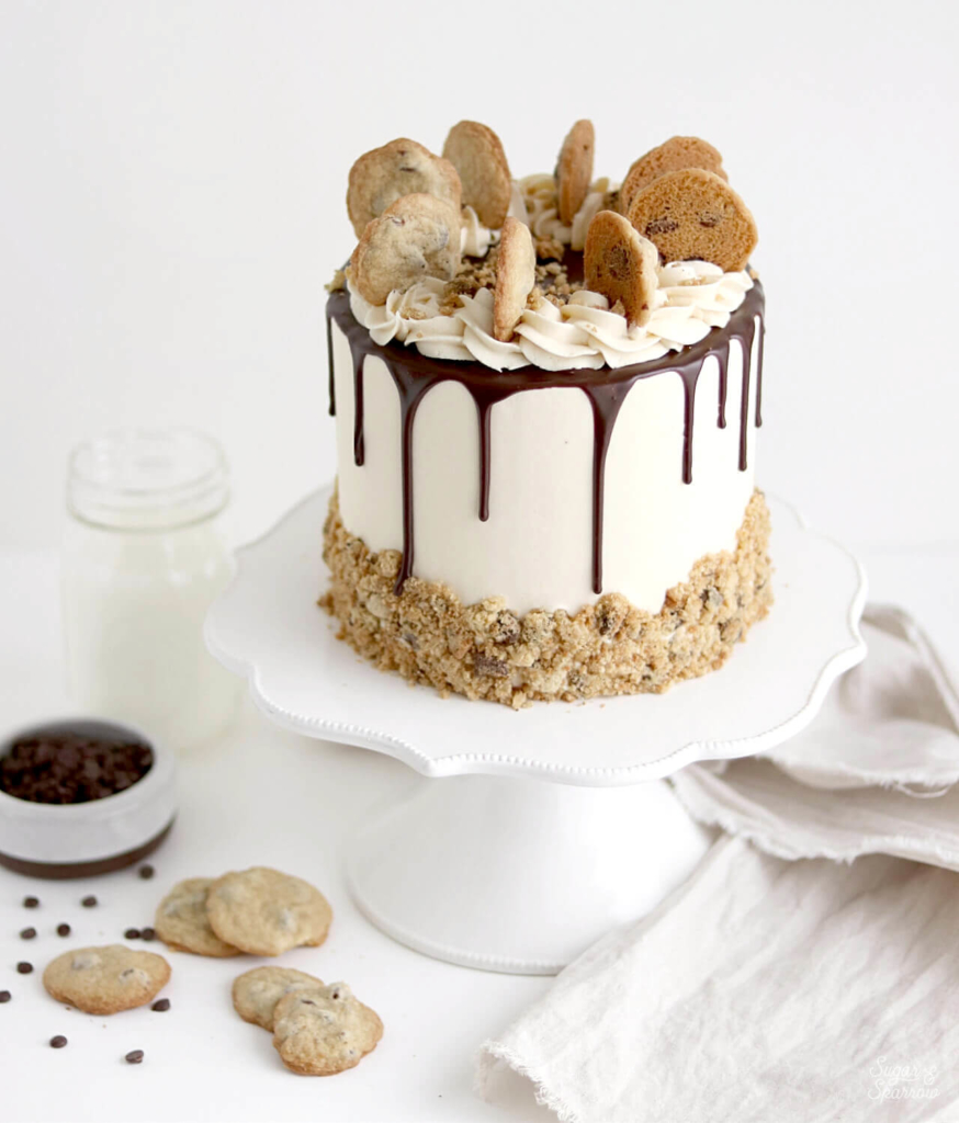 chocolate chip cookie cake by sugar and sparrow