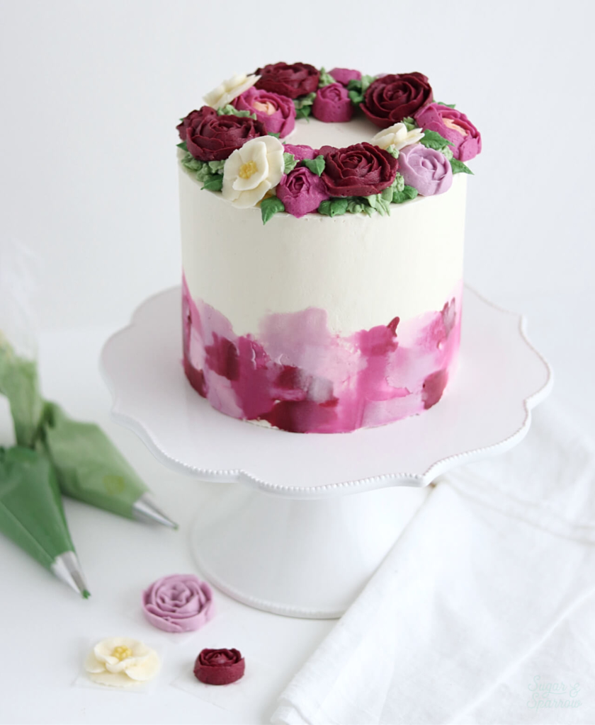 buttercream flower wreath cake tutorial