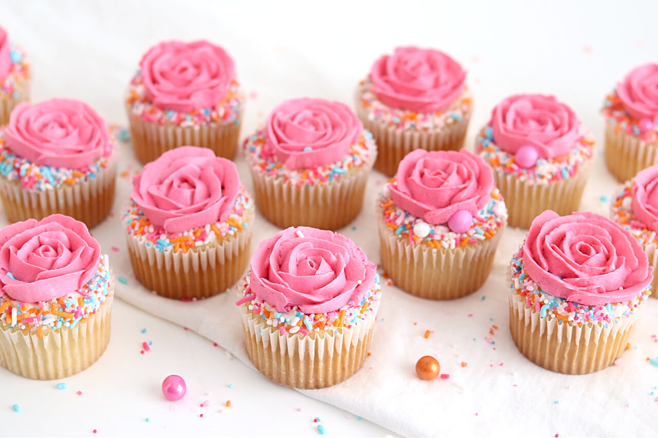 Sprinkle rose cupcake tutorial