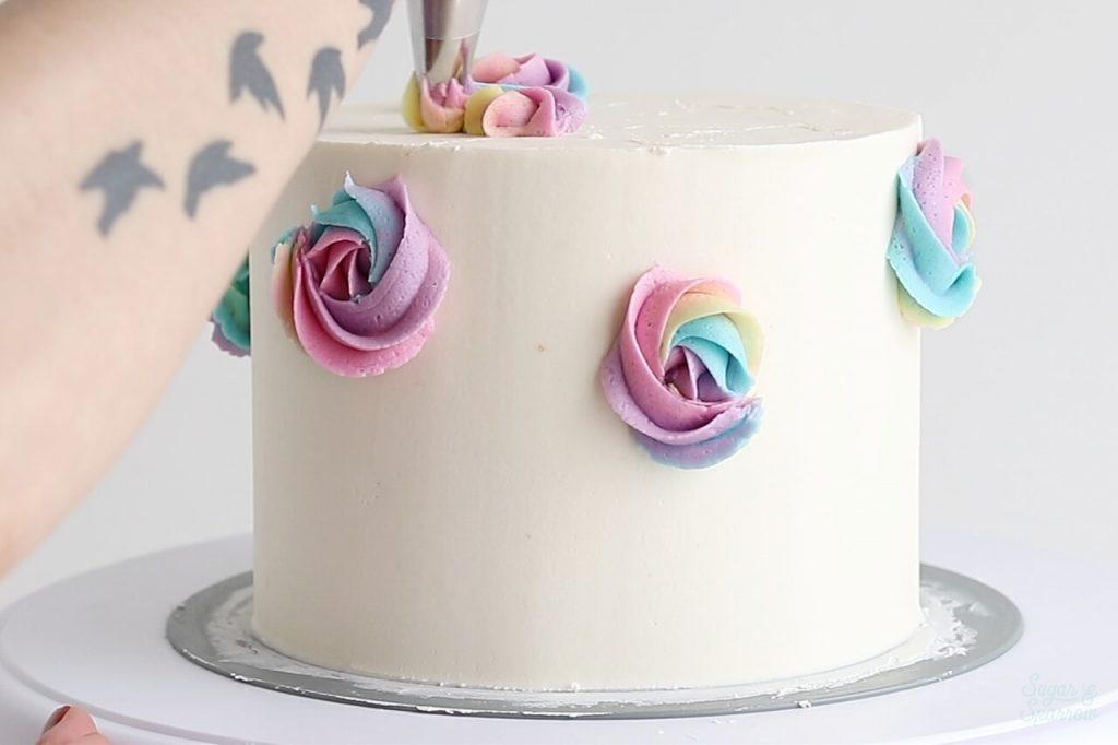 rainbow buttercream rosettes