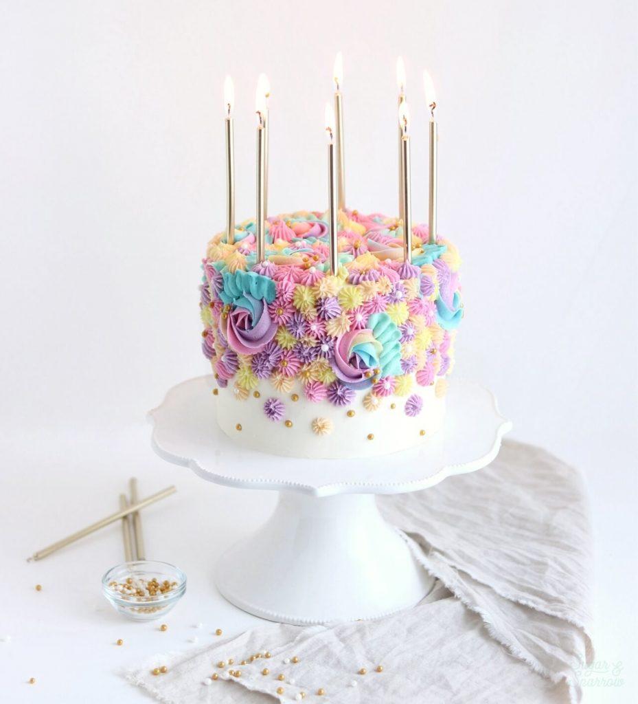 Rainbow birthday cake tutorial