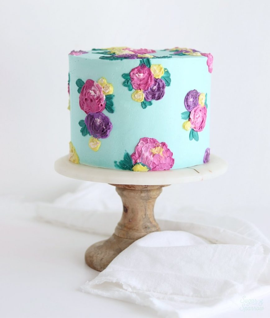 impressionist flowers cake by sugar and sparrow