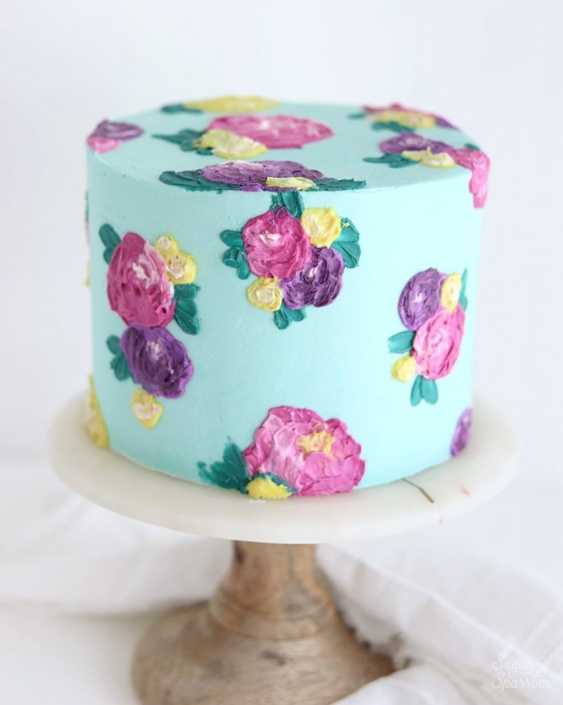 painted buttercream cake with flowers