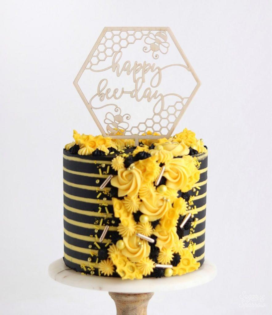 striped buttercream bee birthday cake