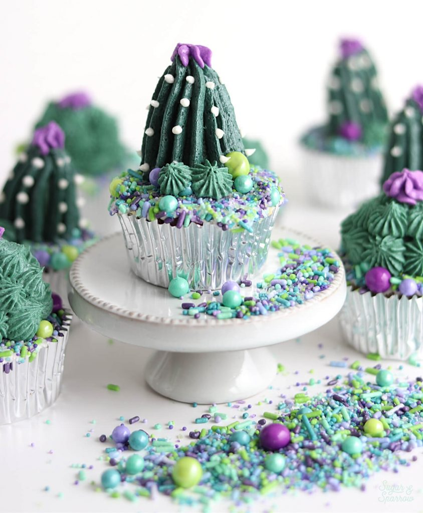 buttercream cactus cupcakes by sugar and sparrow