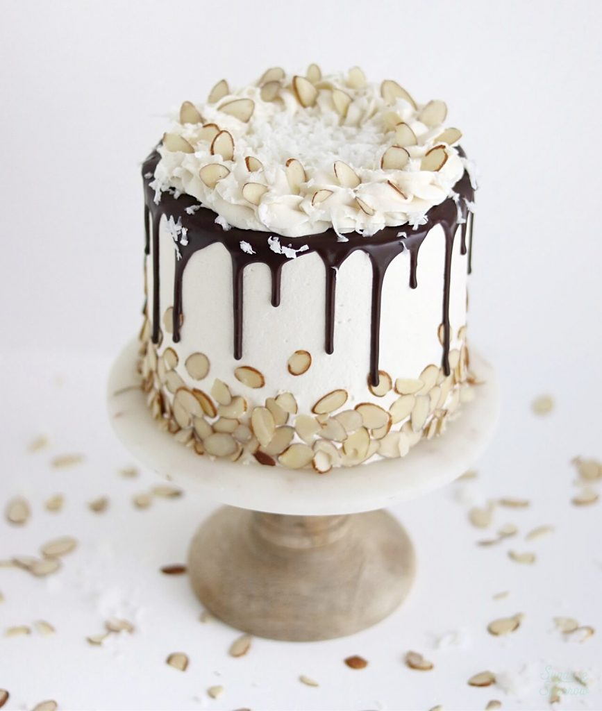 coconut almond cake with chocolate ganache