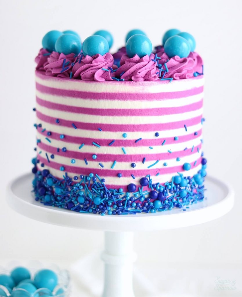 pinstriped cake with sprinkles