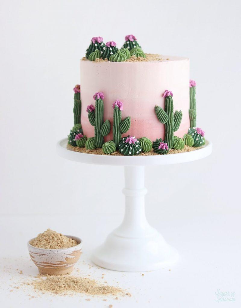 desert cake with cactus tutorial