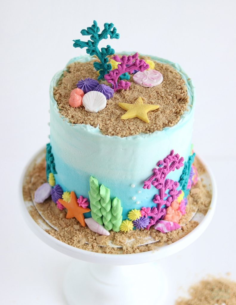 under the sea cake with seashells and coral reef