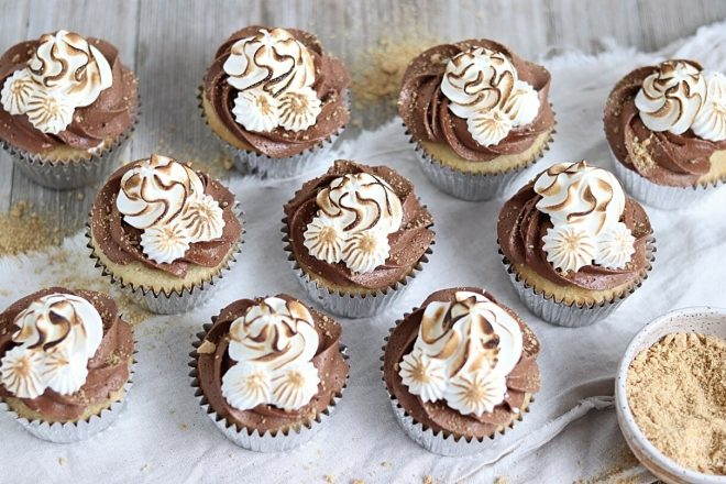 smores cupcakes with toasted marshmallow