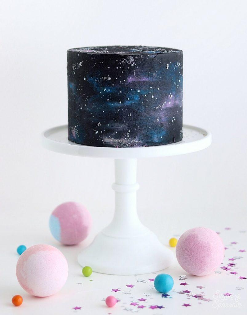 galaxy cake with stars