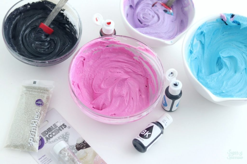 buttercream colors for galaxy cake