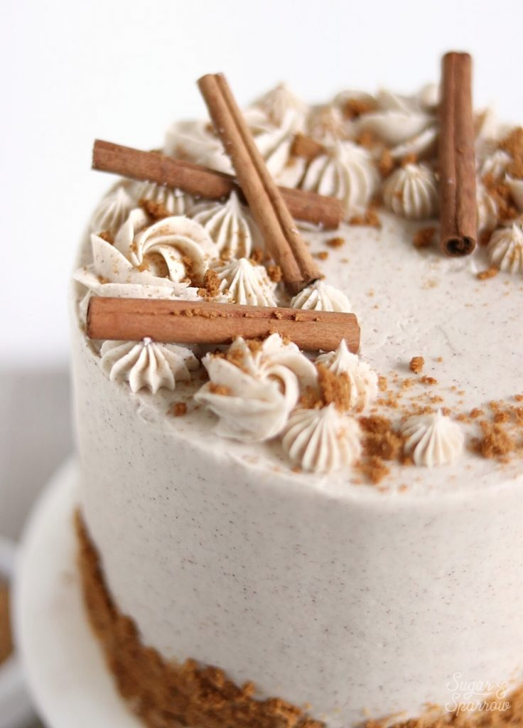 vanilla chai cake with cinnamon sticks and piped buttercream