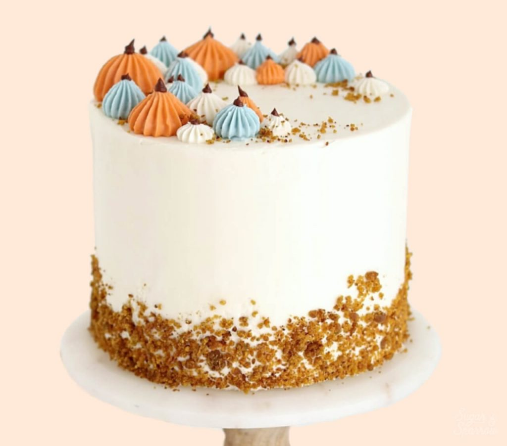 pumpkin layer cake recipe by sugar and sparrow