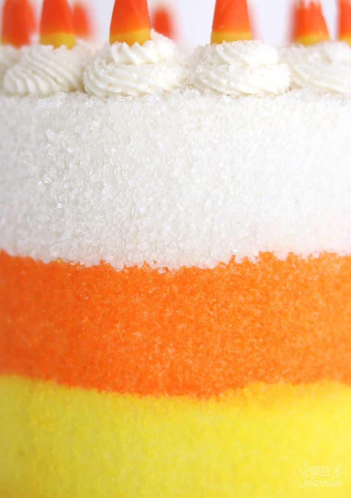 sugared cake in candy corn colors
