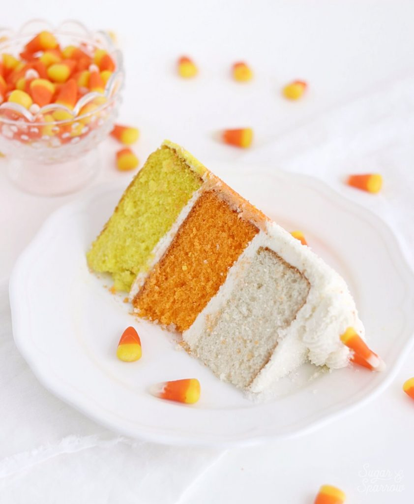 candy corn colored cake layers