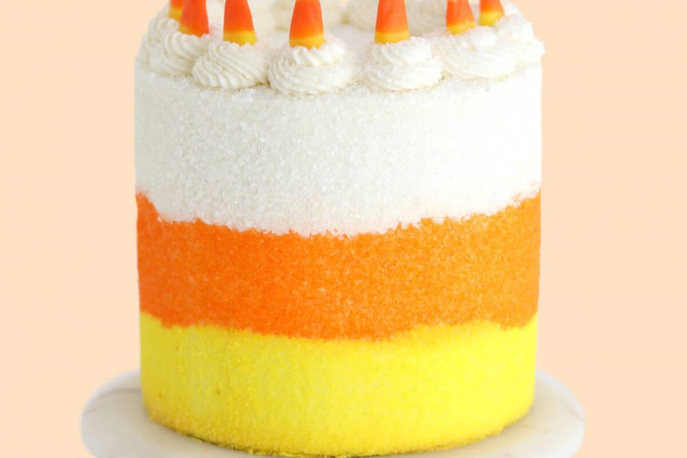 candy corn cake by sugar and sparrow