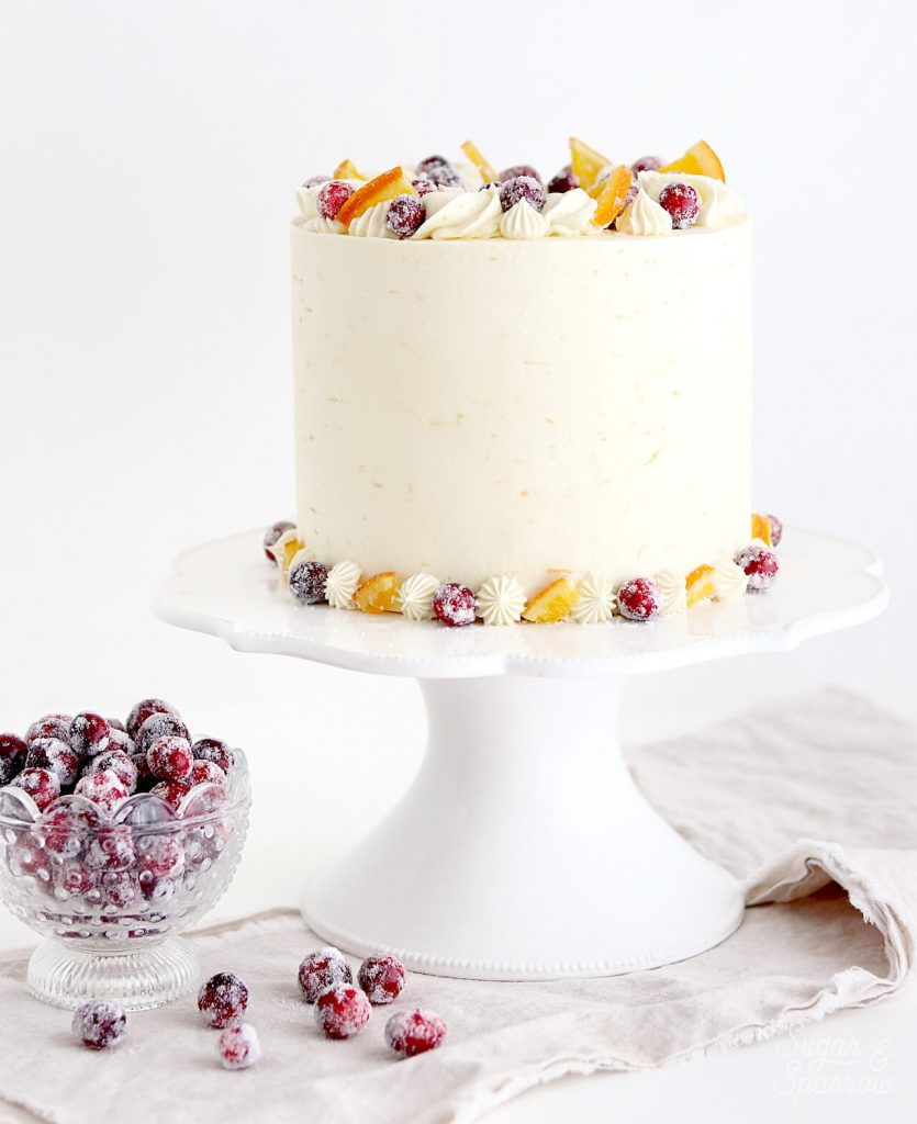 cranberry orange cake recipe with sugared cranberries
