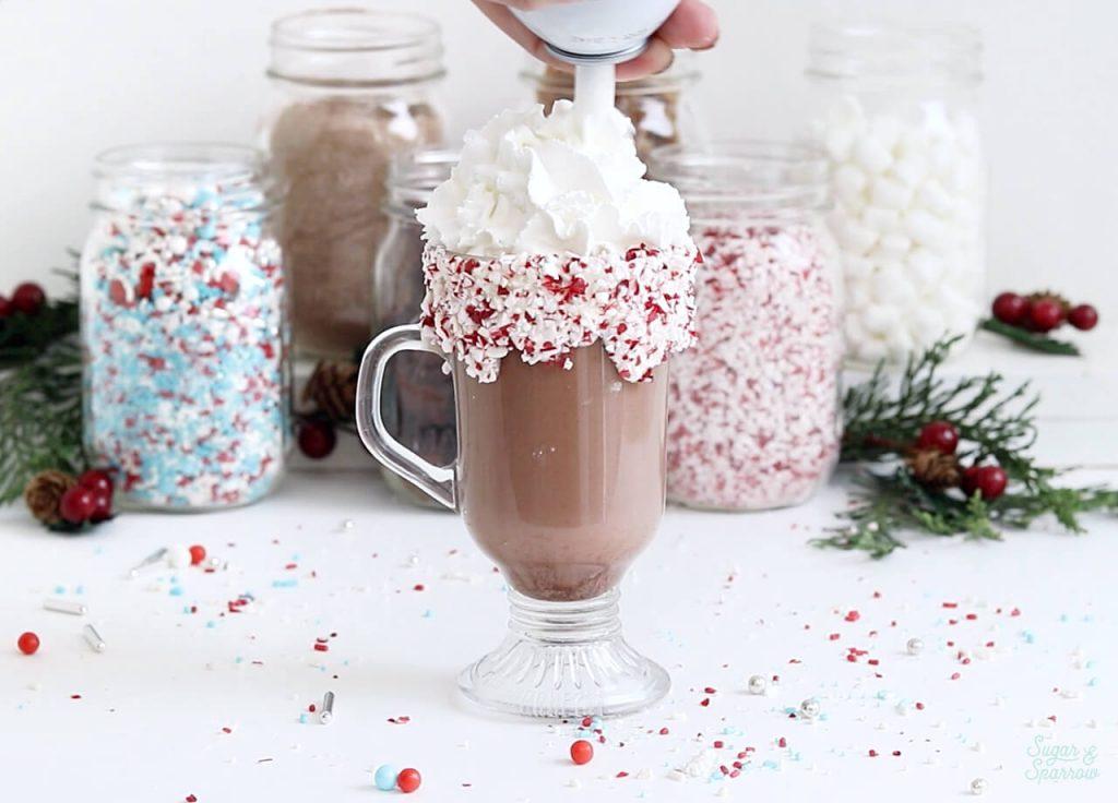 whipped cream on hot cocoa